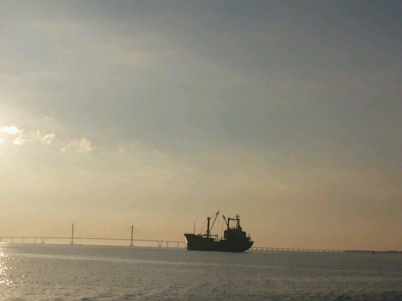 Siluet Jembatan Suramadu di Pagi Hari